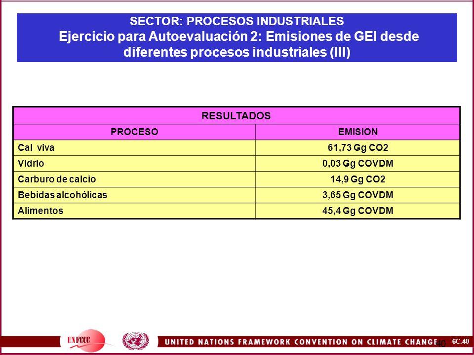 6C.40 40 SECTOR: PROCESOS INDUSTRIALES Ejercicio para Autoevaluación 2: Emisiones de GEI desde diferentes procesos industriales (III) RESULTADOS PROCE