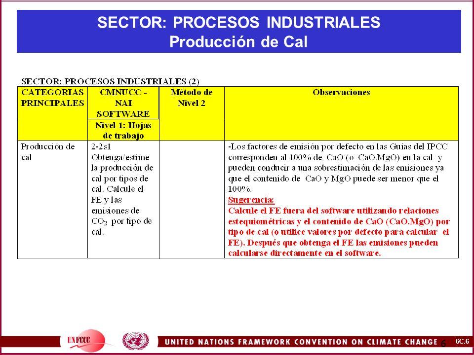 6C.6 6 SECTOR: PROCESOS INDUSTRIALES Producción de Cal