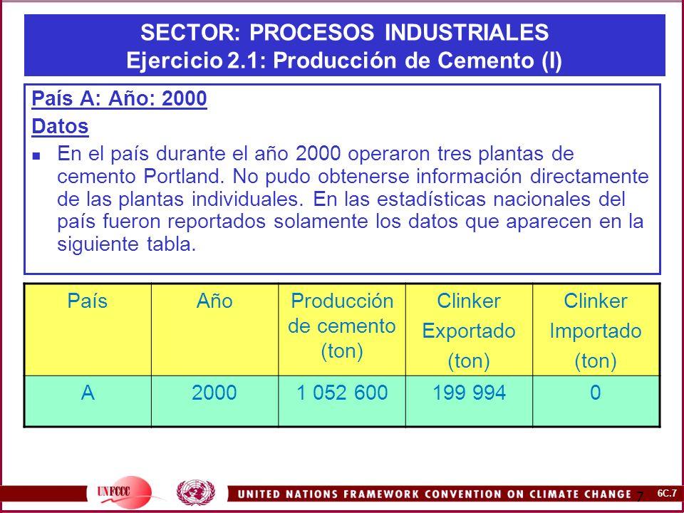 6C.7 7 SECTOR: PROCESOS INDUSTRIALES Ejercicio 2.1: Producción de Cemento (I) País A: Año: 2000 Datos En el país durante el año 2000 operaron tres pla