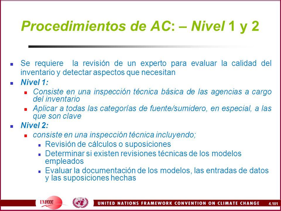 4.101 Procedimientos de AC: – Nivel 1 y 2 Se requiere la revisión de un experto para evaluar la calidad del inventario y detectar aspectos que necesit