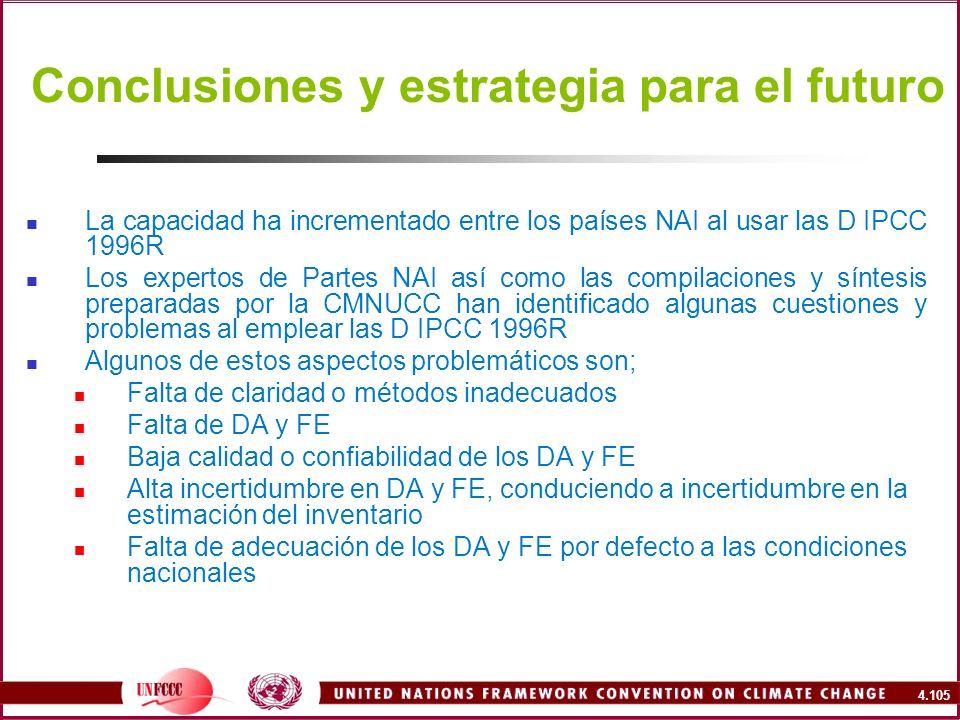 4.105 Conclusiones y estrategia para el futuro La capacidad ha incrementado entre los países NAI al usar las D IPCC 1996R Los expertos de Partes NAI a