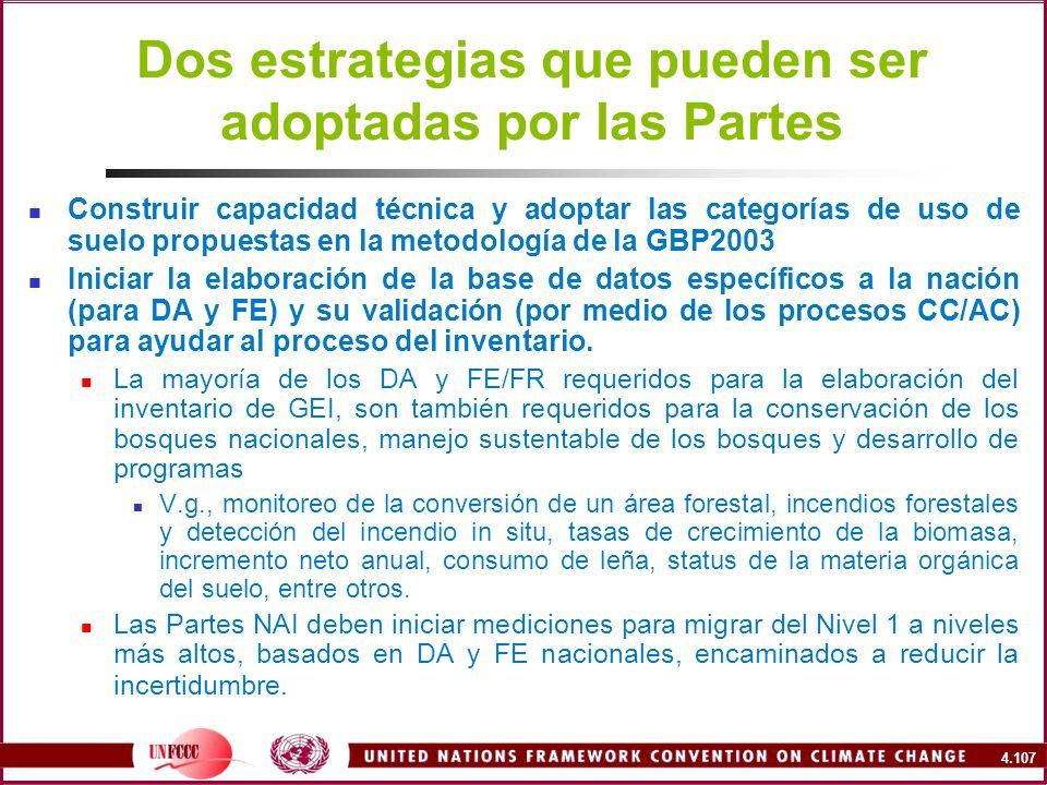 4.107 Dos estrategias que pueden ser adoptadas por las Partes Construir capacidad técnica y adoptar las categorías de uso de suelo propuestas en la me