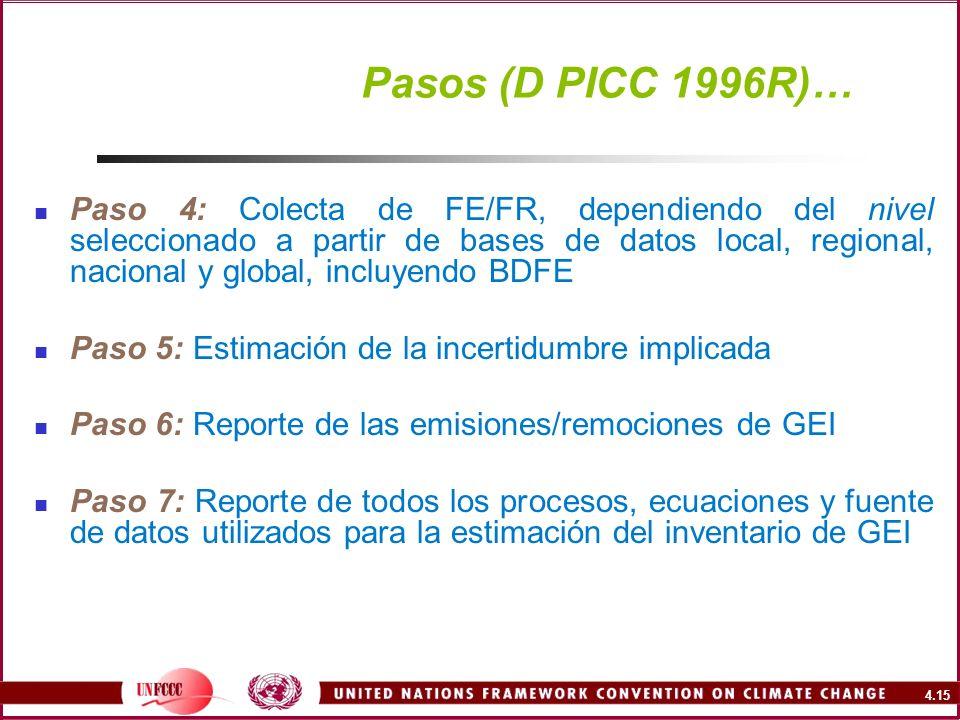 4.15 Pasos (D PICC 1996R)… Paso 4: Colecta de FE/FR, dependiendo del nivel seleccionado a partir de bases de datos local, regional, nacional y global,