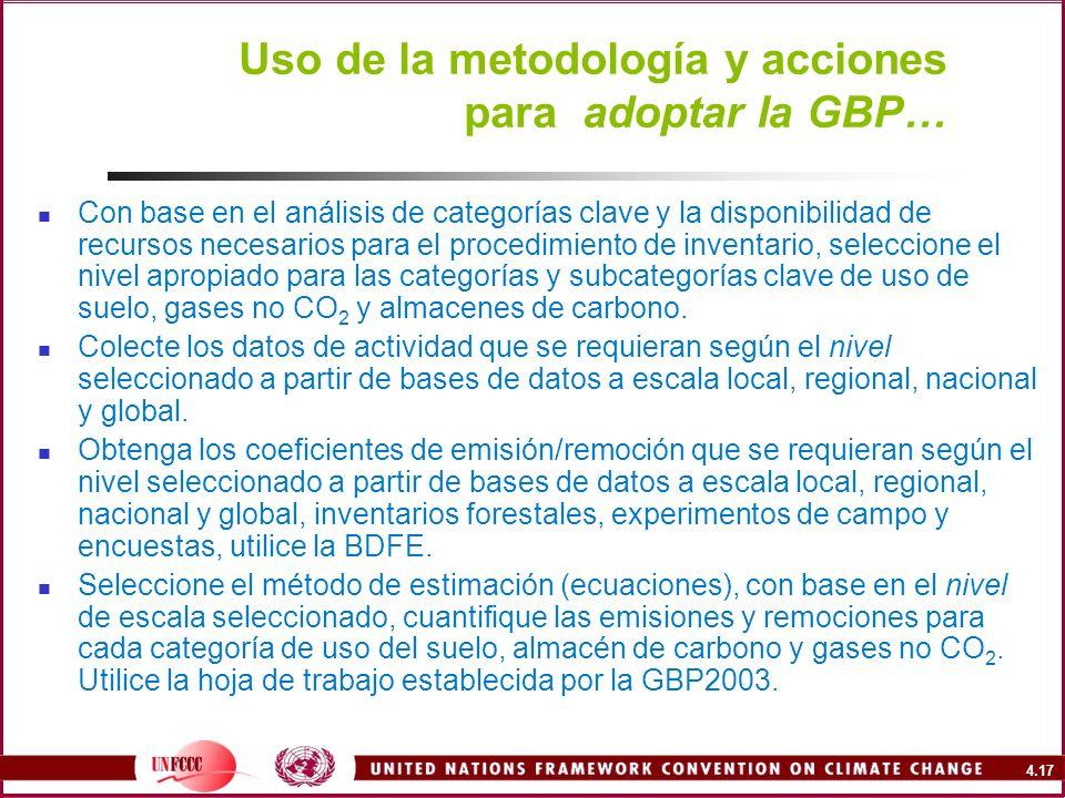 4.17 Uso de la metodología y acciones para adoptar la GBP… Con base en el análisis de categorías clave y la disponibilidad de recursos necesarios para