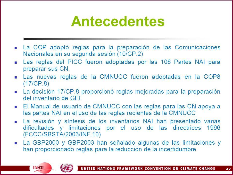 4.2 Antecedentes La COP adoptó reglas para la preparación de las Comunicaciones Nacionales en su segunda sesión (10/CP.2) Las reglas del PICC fueron a