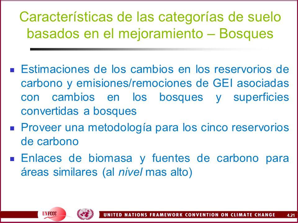 4.21 Características de las categorías de suelo basados en el mejoramiento – Bosques Estimaciones de los cambios en los reservorios de carbono y emisi