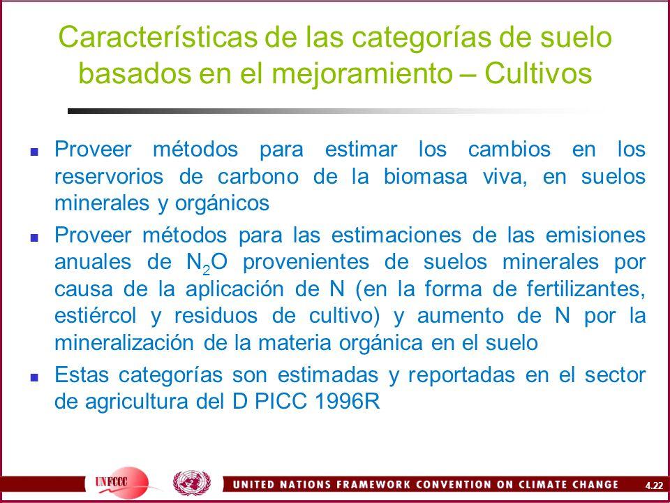 4.22 Proveer métodos para estimar los cambios en los reservorios de carbono de la biomasa viva, en suelos minerales y orgánicos Proveer métodos para l