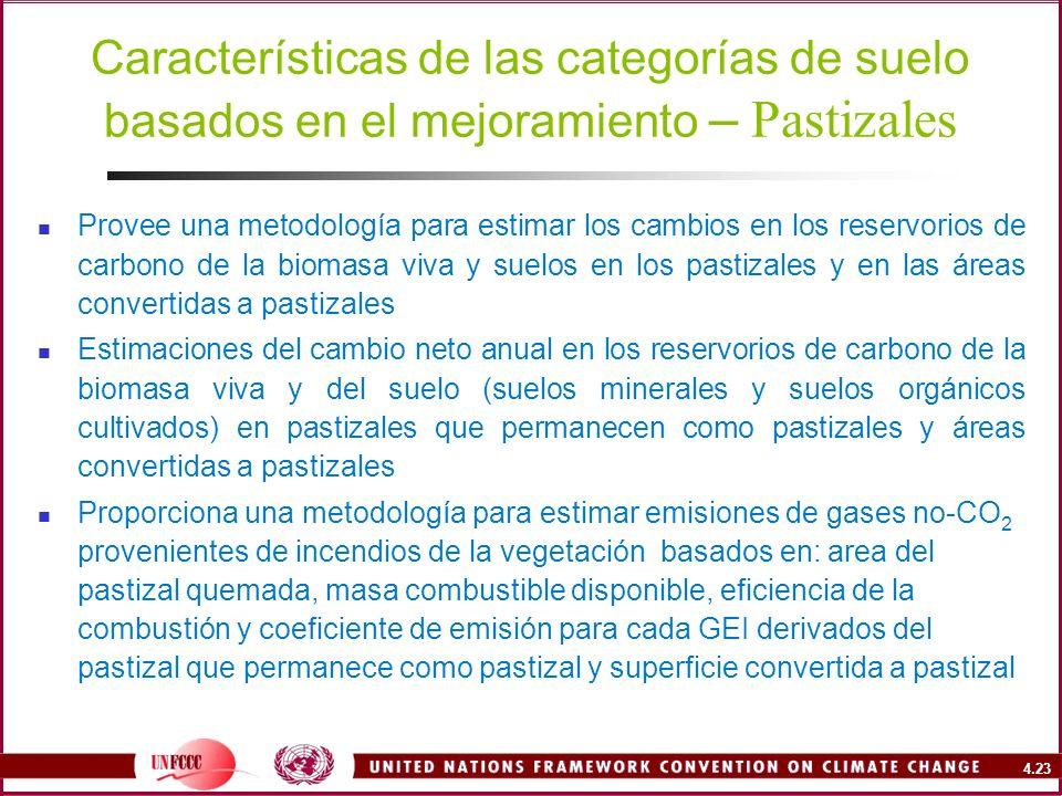 4.23 Características de las categorías de suelo basados en el mejoramiento – Pastizales Provee una metodología para estimar los cambios en los reservo