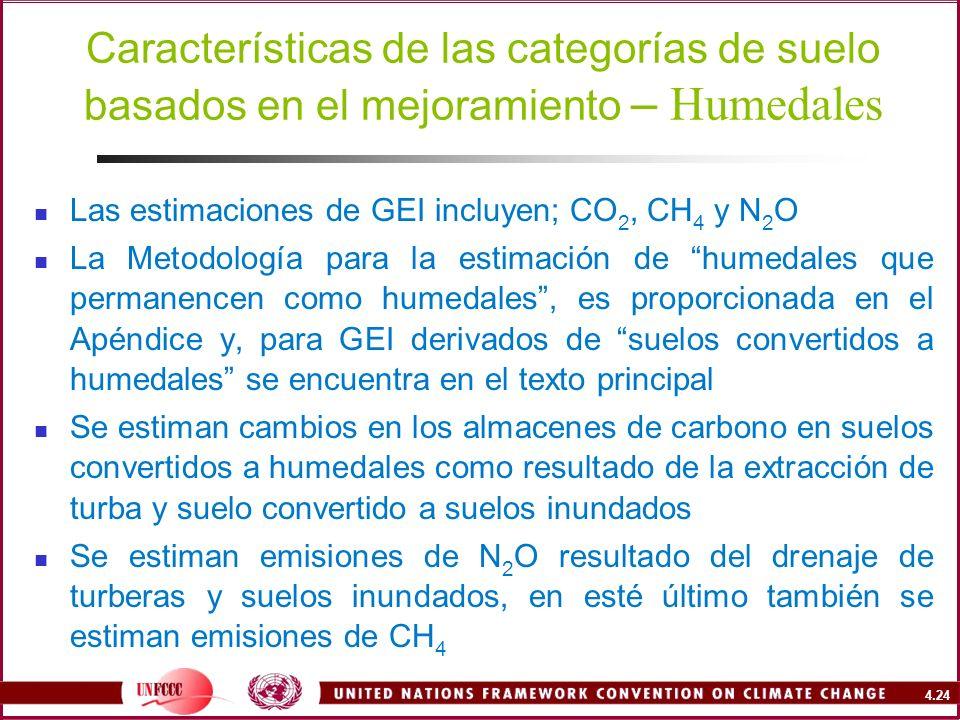 4.24 Características de las categorías de suelo basados en el mejoramiento – Humedales Las estimaciones de GEI incluyen; CO 2, CH 4 y N 2 O La Metodol