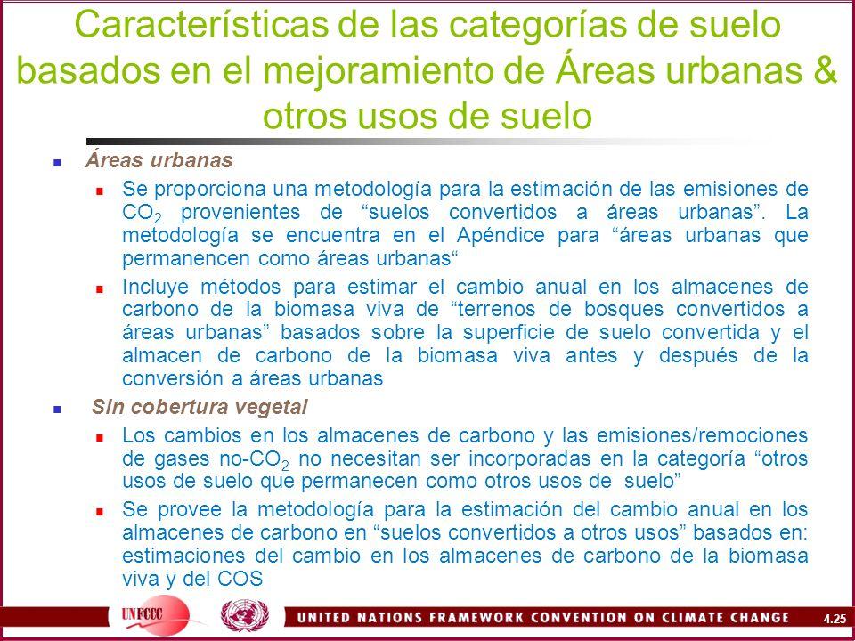 4.25 Características de las categorías de suelo basados en el mejoramiento de Áreas urbanas & otros usos de suelo Áreas urbanas Se proporciona una met
