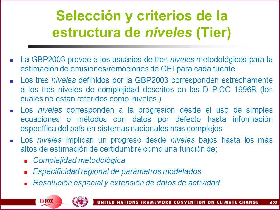 4.28 Selección y criterios de la estructura de niveles (Tier) La GBP2003 provee a los usuarios de tres niveles metodológicos para la estimación de emi
