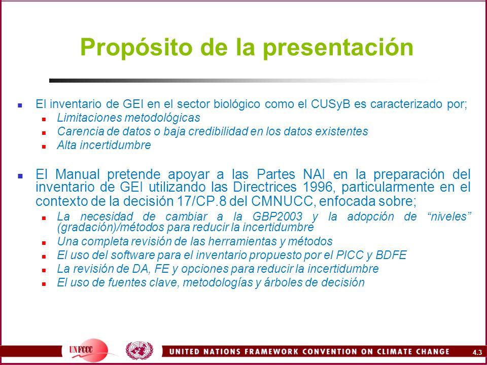 4.3 Propósito de la presentación El inventario de GEI en el sector biológico como el CUSyB es caracterizado por; Limitaciones metodológicas Carencia d