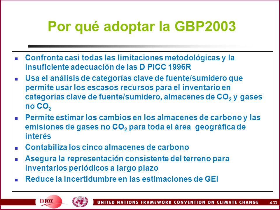 4.33 Por qué adoptar la GBP2003 Confronta casi todas las limitaciones metodológicas y la insuficiente adecuación de las D PICC 1996R Usa el análisis d
