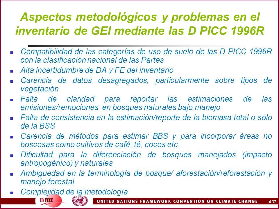 4.37 Aspectos metodológicos y problemas en el inventario de GEI mediante las D PICC 1996R Compatibilidad de las categorías de uso de suelo de las D PI