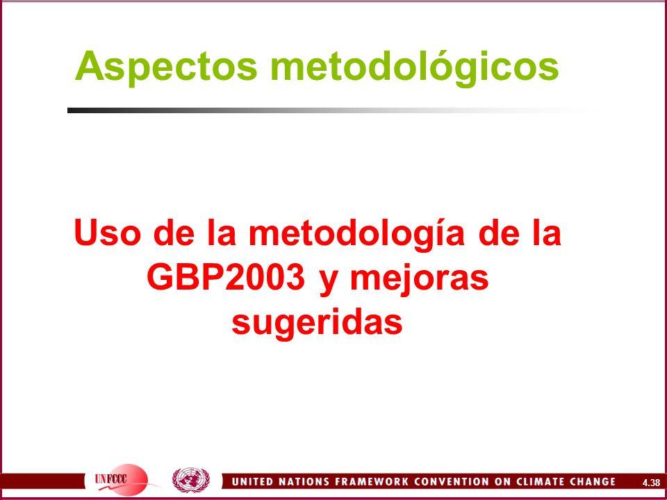 4.38 Aspectos metodológicos Uso de la metodología de la GBP2003 y mejoras sugeridas