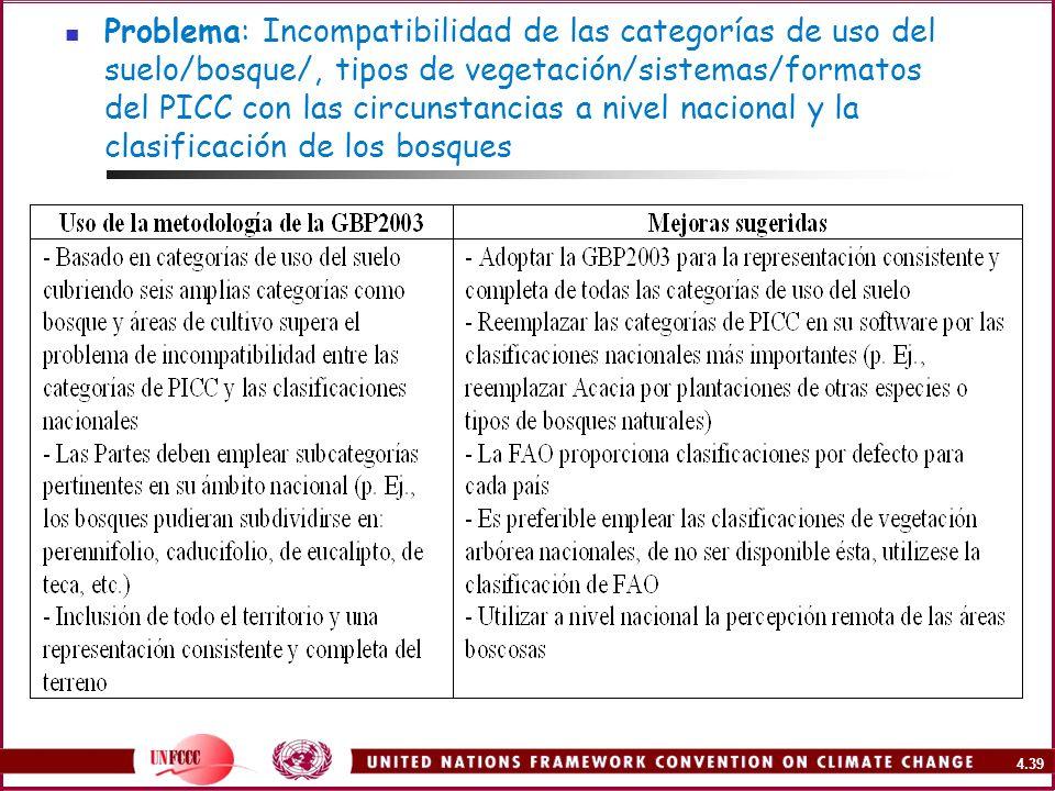 4.39 Problema: Incompatibilidad de las categorías de uso del suelo/bosque/, tipos de vegetación/sistemas/formatos del PICC con las circunstancias a ni