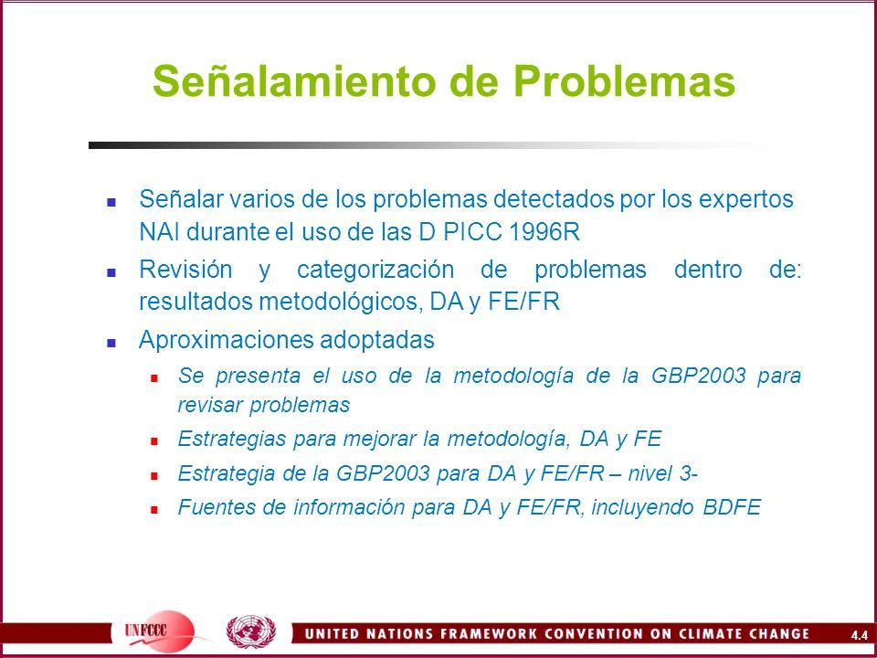 4.4 Señalamiento de Problemas Señalar varios de los problemas detectados por los expertos NAI durante el uso de las D PICC 1996R Revisión y categoriza