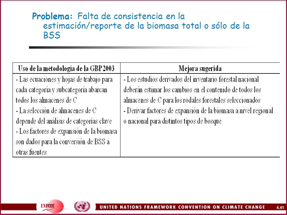 4.41 Problema: Falta de consistencia en la estimación/reporte de la biomasa total o sólo de la BSS