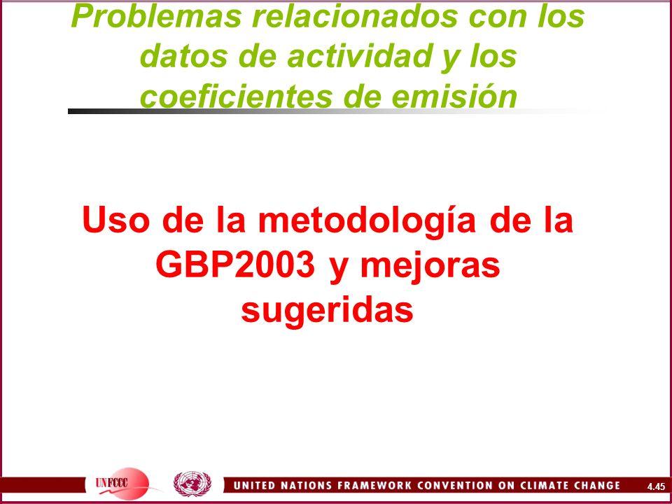 4.45 Problemas relacionados con los datos de actividad y los coeficientes de emisión Uso de la metodología de la GBP2003 y mejoras sugeridas