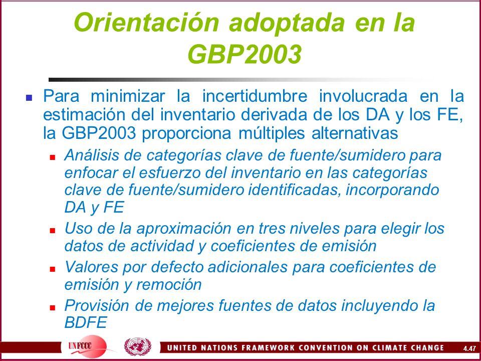 4.47 Orientación adoptada en la GBP2003 Para minimizar la incertidumbre involucrada en la estimación del inventario derivada de los DA y los FE, la GB