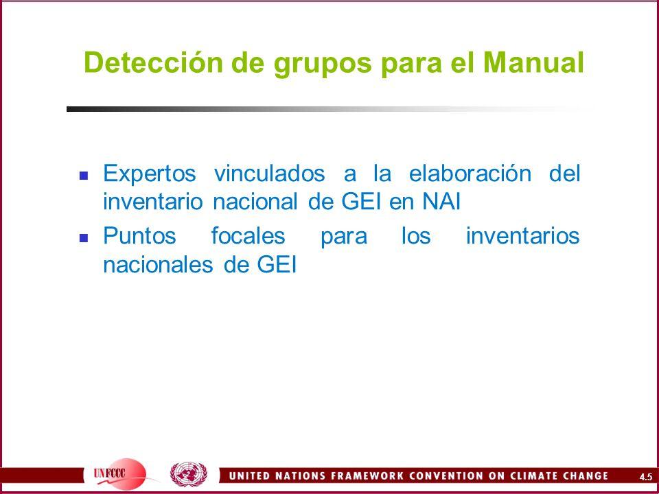 4.5 Detección de grupos para el Manual Expertos vinculados a la elaboración del inventario nacional de GEI en NAI Puntos focales para los inventarios