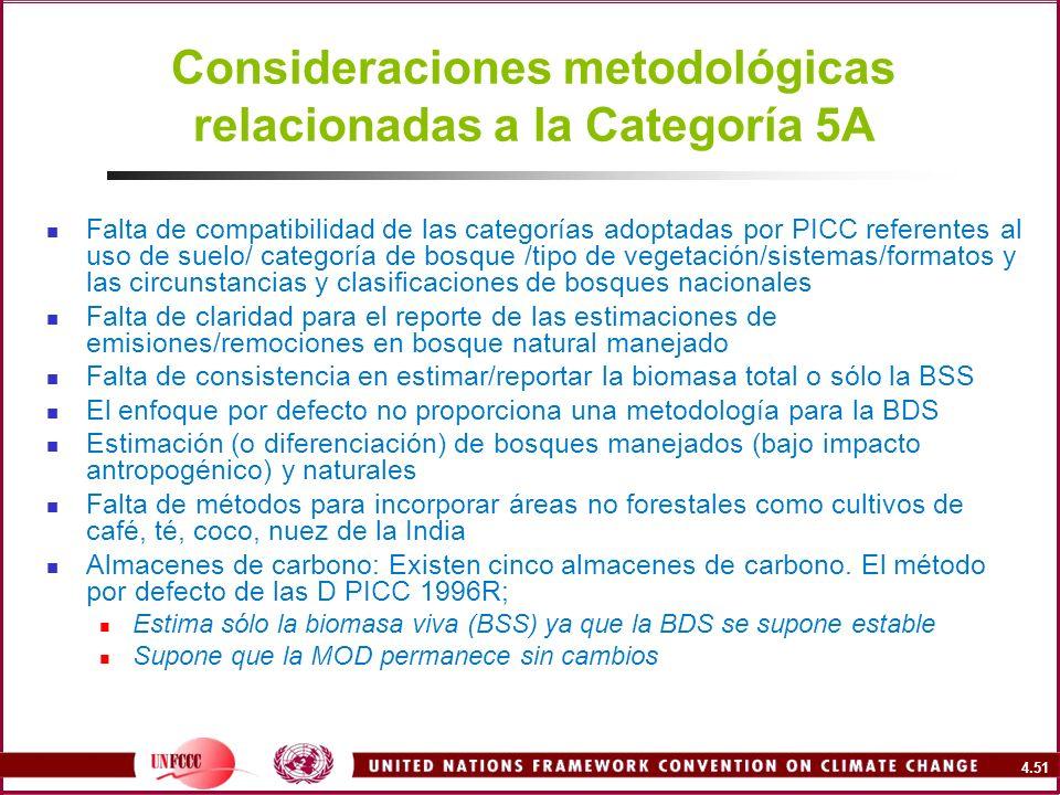 4.51 Consideraciones metodológicas relacionadas a la Categoría 5A Falta de compatibilidad de las categorías adoptadas por PICC referentes al uso de su
