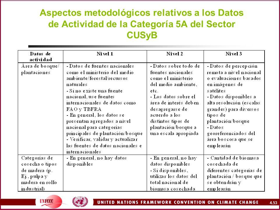 4.53 Aspectos metodológicos relativos a los Datos de Actividad de la Categoría 5A del Sector CUSyB