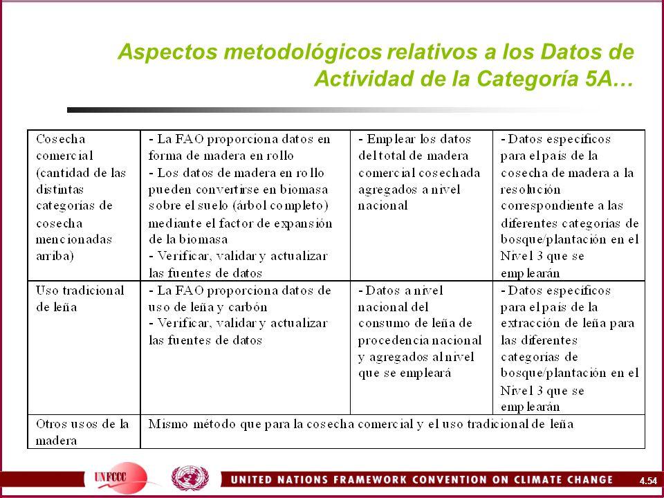 4.54 Aspectos metodológicos relativos a los Datos de Actividad de la Categoría 5A…