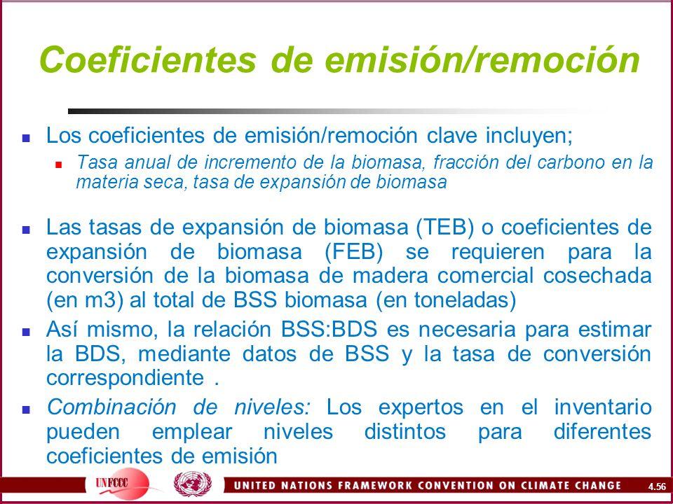 4.56 Coeficientes de emisión/remoción Los coeficientes de emisión/remoción clave incluyen; Tasa anual de incremento de la biomasa, fracción del carbon