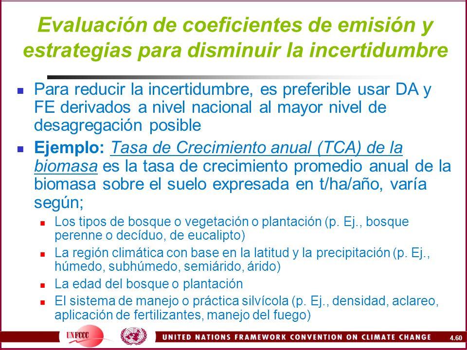 4.60 Evaluación de coeficientes de emisión y estrategias para disminuir la incertidumbre Para reducir la incertidumbre, es preferible usar DA y FE der