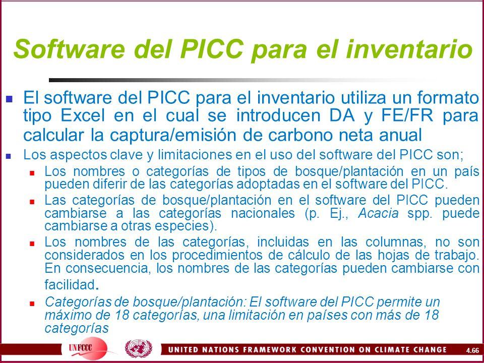 4.66 Software del PICC para el inventario El software del PICC para el inventario utiliza un formato tipo Excel en el cual se introducen DA y FE/FR pa