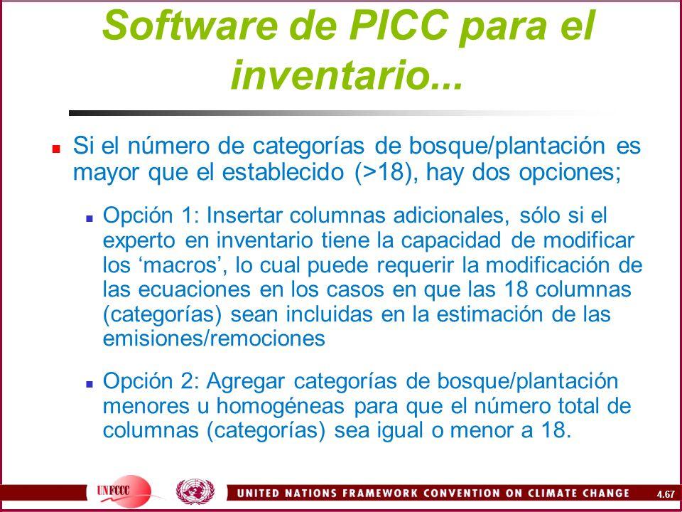 4.67 Software de PICC para el inventario... Si el número de categorías de bosque/plantación es mayor que el establecido (>18), hay dos opciones; Opció