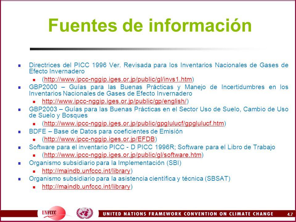 4.7 Fuentes de información Directrices del PICC 1996 Ver. Revisada para los Inventarios Nacionales de Gases de Efecto Invernadero (http://www.ipcc-ngg