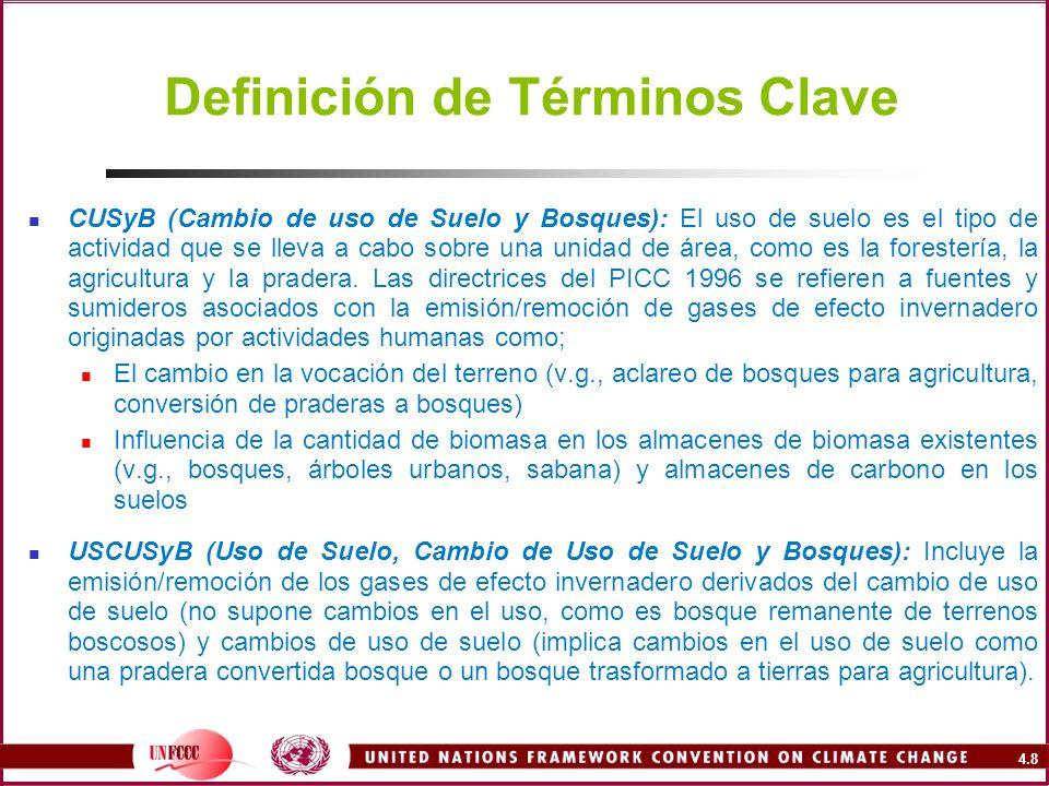 4.8 Definición de Términos Clave CUSyB (Cambio de uso de Suelo y Bosques): El uso de suelo es el tipo de actividad que se lleva a cabo sobre una unida