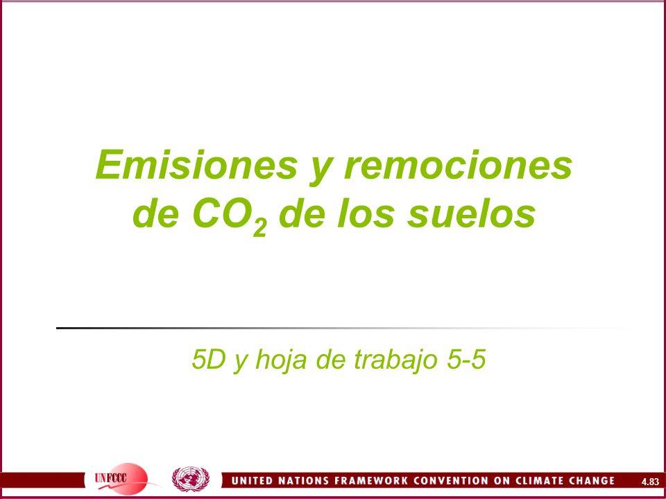 4.83 Emisiones y remociones de CO 2 de los suelos 5D y hoja de trabajo 5-5