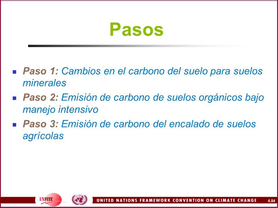 4.84 Pasos Paso 1: Cambios en el carbono del suelo para suelos minerales Paso 2: Emisión de carbono de suelos orgánicos bajo manejo intensivo Paso 3: