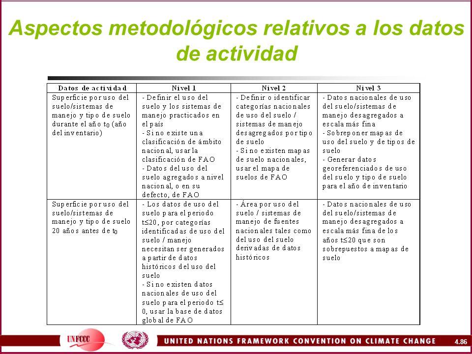 4.86 Aspectos metodológicos relativos a los datos de actividad