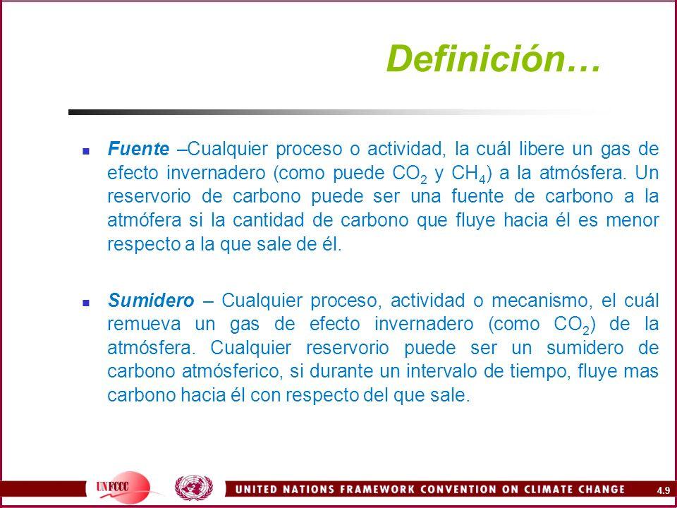 4.9 Definición… Fuente –Cualquier proceso o actividad, la cuál libere un gas de efecto invernadero (como puede CO 2 y CH 4 ) a la atmósfera. Un reserv