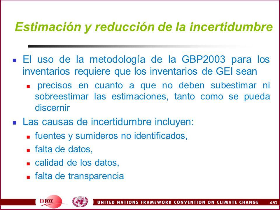 4.93 Estimación y reducción de la incertidumbre El uso de la metodología de la GBP2003 para los inventarios requiere que los inventarios de GEI sean p