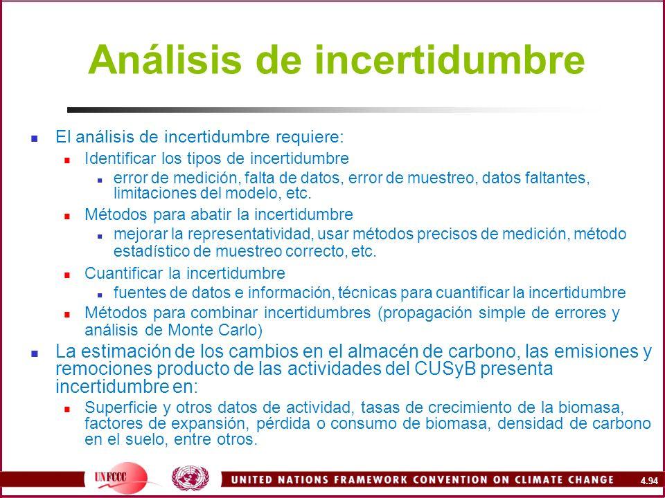 4.94 Análisis de incertidumbre El análisis de incertidumbre requiere: Identificar los tipos de incertidumbre error de medición, falta de datos, error