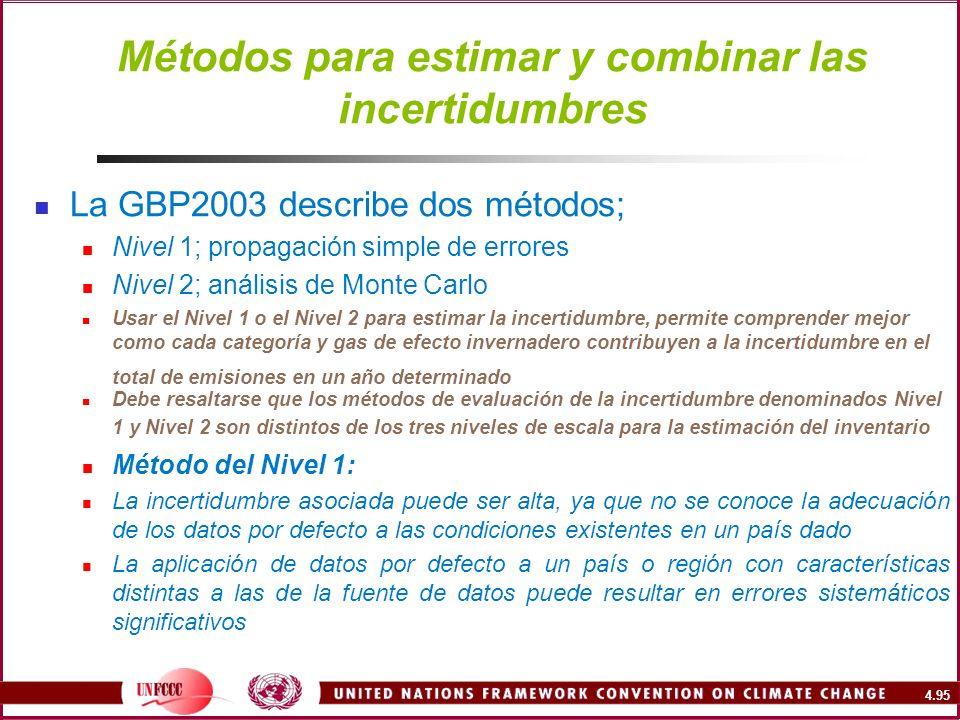 4.95 Métodos para estimar y combinar las incertidumbres La GBP2003 describe dos métodos; Nivel 1; propagación simple de errores Nivel 2; análisis de M