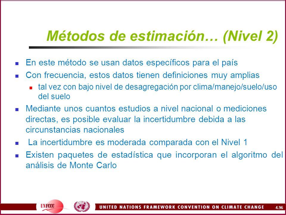 4.96 Métodos de estimación… (Nivel 2) En este método se usan datos específicos para el país Con frecuencia, estos datos tienen definiciones muy amplia