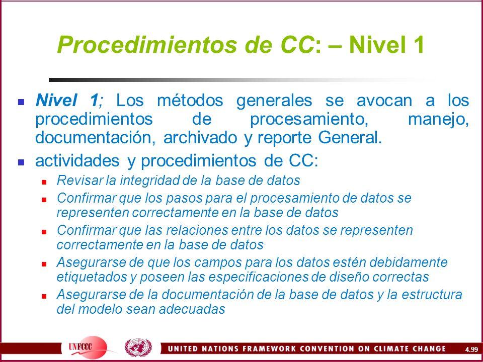 4.99 Procedimientos de CC: – Nivel 1 Nivel 1; Los métodos generales se avocan a los procedimientos de procesamiento, manejo, documentación, archivado