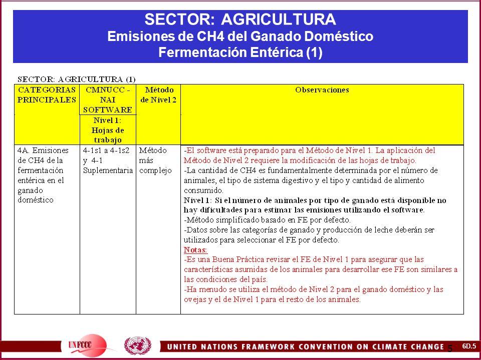 6D.36 36 SECTOR: AGRICULTURA Ejercicio para Autoevaluación 1: CH4 desde la Fermentación Entérica y el Manejo del Estiércol en el Ganado Doméstico (III) Tareas Determine las emisiones de CH4 provenientes de la fermentación entérica y el manejo del estiércol utilizando el CMNUCC-NAI software.