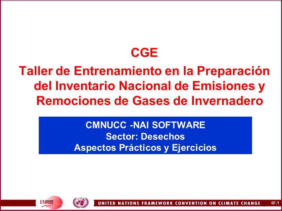 6F.1 1 CMNUCC -NAI SOFTWARE Sector: Desechos Aspectos Prácticos y Ejercicios CGE Taller de Entrenamiento en la Preparación del Inventario Nacional de Emisiones y Remociones de Gases de Invernadero