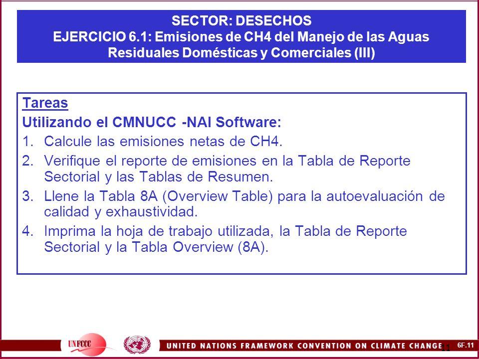 6F.11 11 SECTOR: DESECHOS EJERCICIO 6.1: Emisiones de CH4 del Manejo de las Aguas Residuales Domésticas y Comerciales (III) Tareas Utilizando el CMNUCC -NAI Software: 1.Calcule las emisiones netas de CH4.