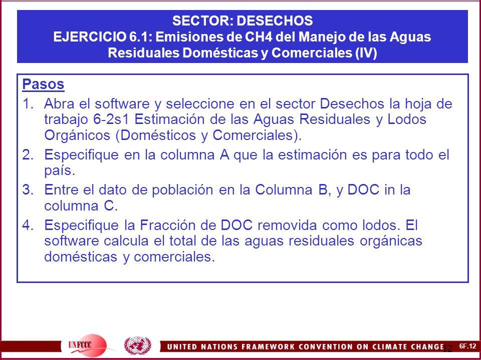 6F.12 12 SECTOR: DESECHOS EJERCICIO 6.1: Emisiones de CH4 del Manejo de las Aguas Residuales Domésticas y Comerciales (IV) Pasos 1.Abra el software y seleccione en el sector Desechos la hoja de trabajo 6-2s1 Estimación de las Aguas Residuales y Lodos Orgánicos (Domésticos y Comerciales).