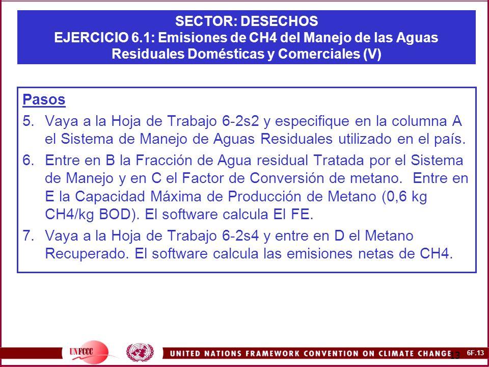 6F.13 13 SECTOR: DESECHOS EJERCICIO 6.1: Emisiones de CH4 del Manejo de las Aguas Residuales Domésticas y Comerciales (V) Pasos 5.Vaya a la Hoja de Trabajo 6-2s2 y especifique en la columna A el Sistema de Manejo de Aguas Residuales utilizado en el país.
