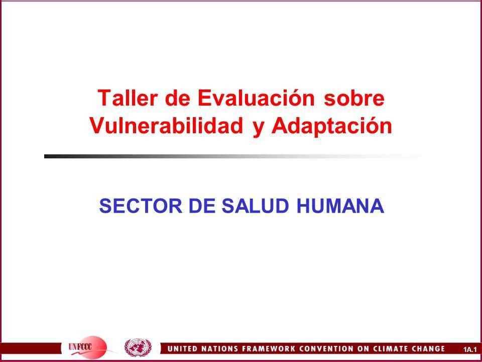 1A.1 Taller de Evaluación sobre Vulnerabilidad y Adaptación SECTOR DE SALUD HUMANA