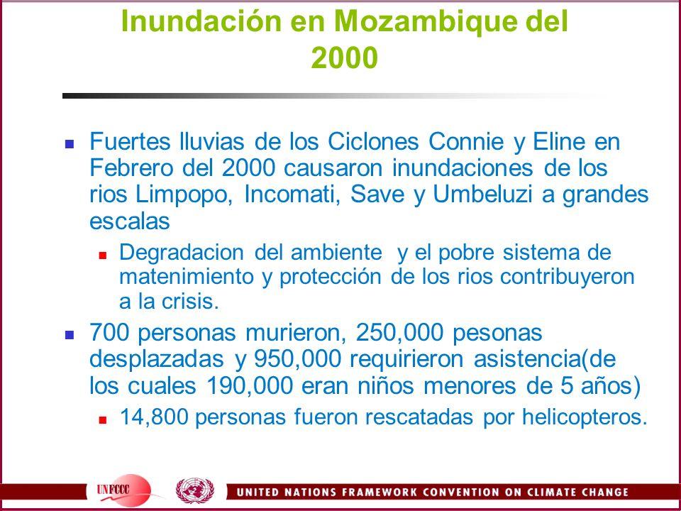 Inundación en Mozambique del 2000 Fuertes lluvias de los Ciclones Connie y Eline en Febrero del 2000 causaron inundaciones de los rios Limpopo, Incoma